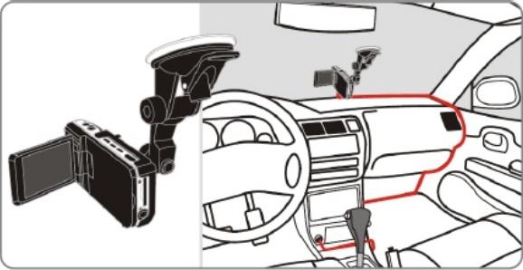 Установка видеорегистратора в салоне автомобиля.