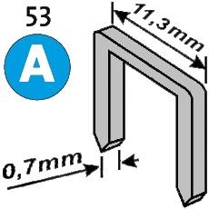 Размеры степлерной скобы типа 53 (A).