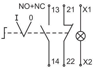 Схема поворотного переключателя на два фиксированных положения со встроенной индикаторной лампой.