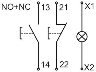 Схема пары нефиксируемых кнопок Пуск-Стоп в одном корпусе с индикаторной лампой.