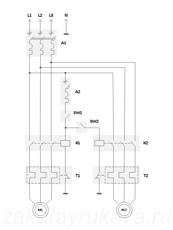 Подключаете пылесос параллельно основному контактору (K1 на схеме), то есть параллельно основному двигателю...