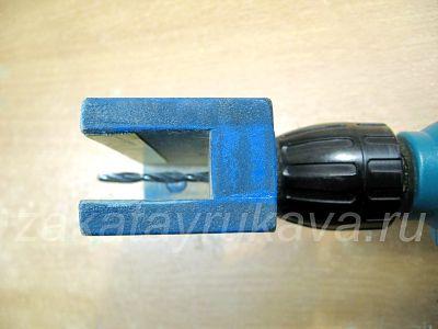 Кондуктор для сверления в торец. Длина применяемого сверла должна выбираться с учетом толщины кондуктора.