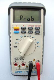 Реакция мультиметра APPA 107N на неправильное подключение измерительных щупов (Beep Guard).
