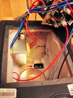 Активная колонка Microlab Solo 1C с извлеченной электроникой. Удаление платы ИК-приемника.