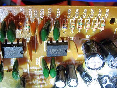 Плата УМЗЧ колонок Microlab Solo 1C до замены резисторов.