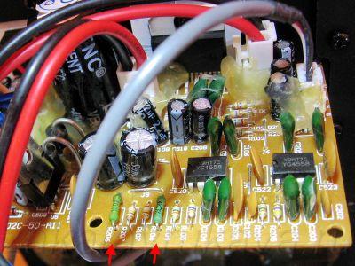 Плата УМЗЧ колонок Microlab Solo 1C. Резисторы заменены (зеленого цвета).