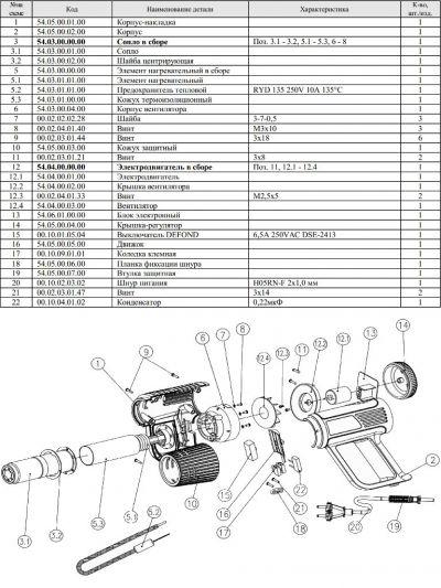 Взрыв-схема (схема сборки) фена Интерскол ФЭ-2000.