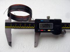 Внутренний диаметр сгоревшей катушки равен 50 мм (округленно).