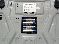 Батарейный отсек с открытой крышкой весов MARTA MT-1650.